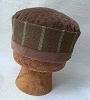 Men's brown boho hat, handmade in a unique mix of fabrics
