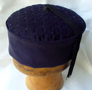 Handmade Smoking Cap in navy with vintage fringe tassel and hand beading