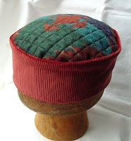 Aztec design handmade smoking cap in warm Autumn colours