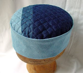 Denim smoking cap with patchwork tip in three classic shades highlighted with gunmetal coloured seed beads